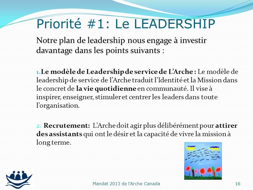 Notre plan de leadership nous engage à investir davantage dans les points suivants : 1. Le modèle de Leadership de service de LArche : Le modèle de le