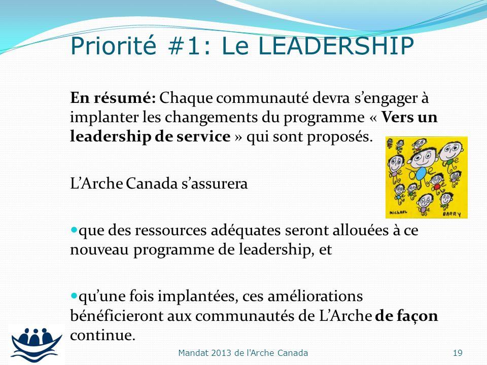 En résumé: Chaque communauté devra sengager à implanter les changements du programme « Vers un leadership de service » qui sont proposés. LArche Canad