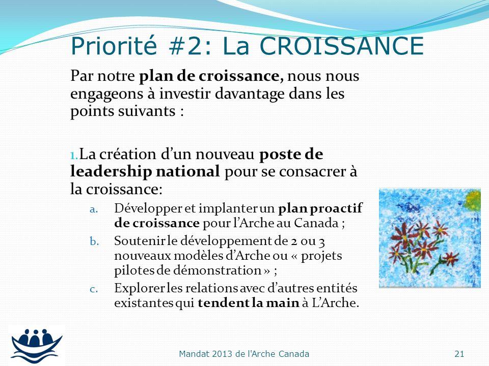 Par notre plan de croissance, nous nous engageons à investir davantage dans les points suivants : 1. La création dun nouveau poste de leadership natio