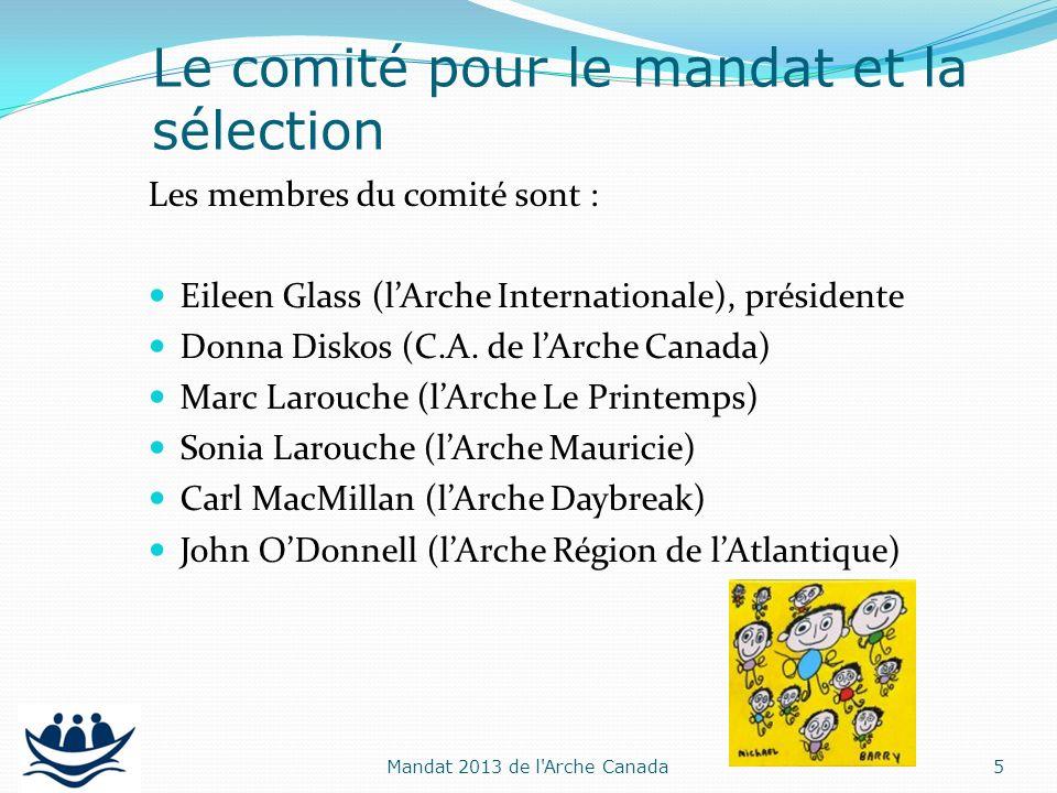 Les membres du comité sont : Eileen Glass (lArche Internationale), présidente Donna Diskos (C.A. de lArche Canada) Marc Larouche (lArche Le Printemps)