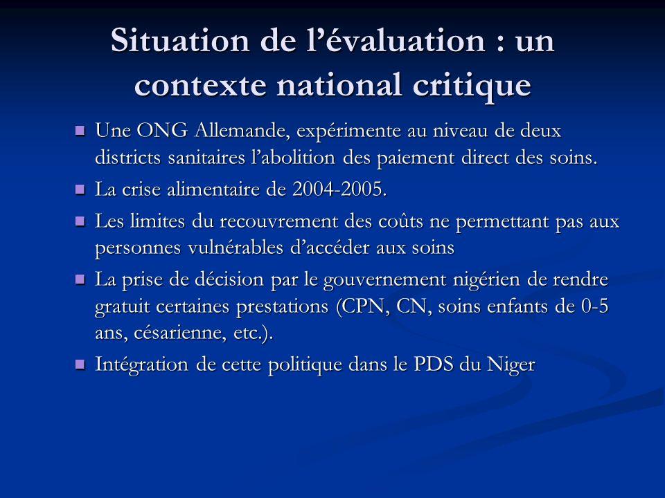 Situation de lévaluation : un contexte national critique Une ONG Allemande, expérimente au niveau de deux districts sanitaires labolition des paiement direct des soins.
