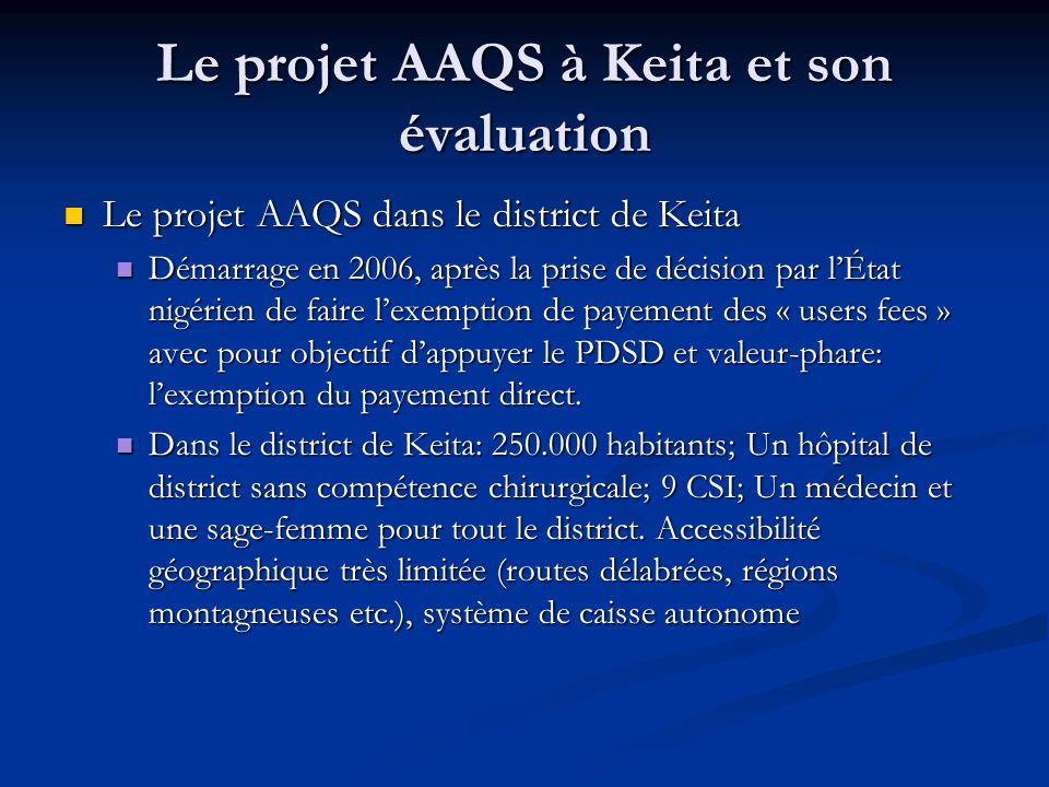 Le projet AAQS à Keita et son évaluation Le projet AAQS dans le district de Keita Le projet AAQS dans le district de Keita Démarrage en 2006, après la prise de décision par lÉtat nigérien de faire lexemption de payement des « users fees » avec pour objectif dappuyer le PDSD et valeur-phare: lexemption du payement direct.