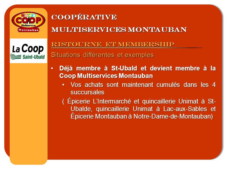 Coopérative multiservices montauban Ristourne et membership Situations différentes et exemples Déjà membre à St-Ubald et devient membre à la Coop Multiservices MontaubanDéjà membre à St-Ubald et devient membre à la Coop Multiservices Montauban Vos achats sont maintenant cumulés dans les 4 succursalesVos achats sont maintenant cumulés dans les 4 succursales ( Épicerie LIntermarché et quincaillerie Unimat à St- Ubalde, quincaillerie Unimat à Lac-aux-Sables et Épicerie Montauban à Notre-Dame-de-Montauban)