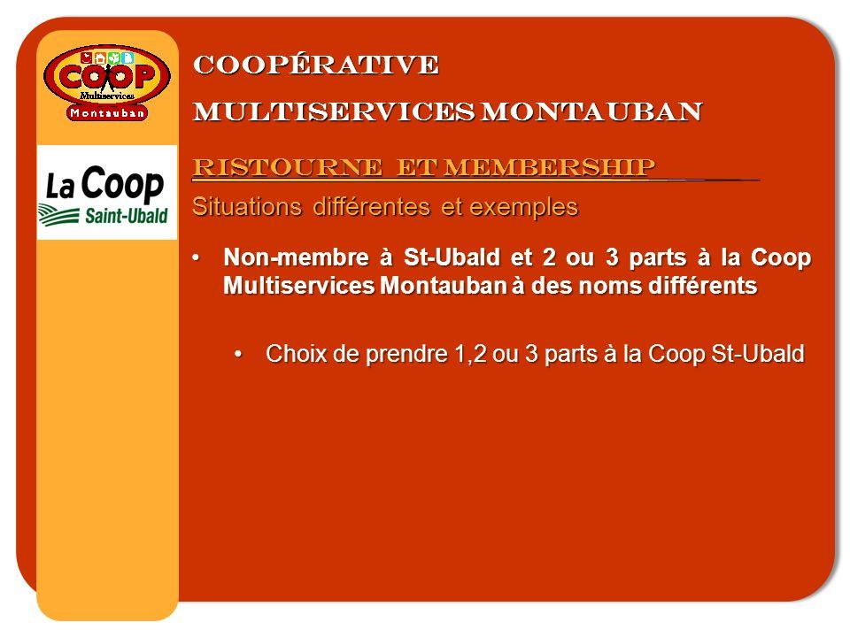 Coopérative multiservices montauban Ristourne et membership Situations différentes et exemples Non-membre à St-Ubald et 2 ou 3 parts à la Coop Multiservices Montauban à des noms différentsNon-membre à St-Ubald et 2 ou 3 parts à la Coop Multiservices Montauban à des noms différents Choix de prendre 1,2 ou 3 parts à la Coop St-UbaldChoix de prendre 1,2 ou 3 parts à la Coop St-Ubald