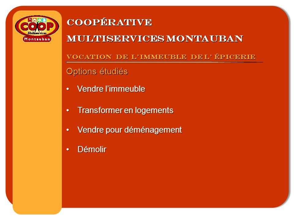 Coopérative multiservices montauban Vocation de limmeuble de l épicerie Options étudiés Vendre limmeubleVendre limmeuble Transformer en logementsTransformer en logements Vendre pour déménagementVendre pour déménagement DémolirDémolir