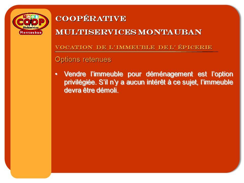 Coopérative multiservices montauban Vocation de limmeuble de l épicerie Options retenues Vendre limmeuble pour déménagement est loption privilégiée.