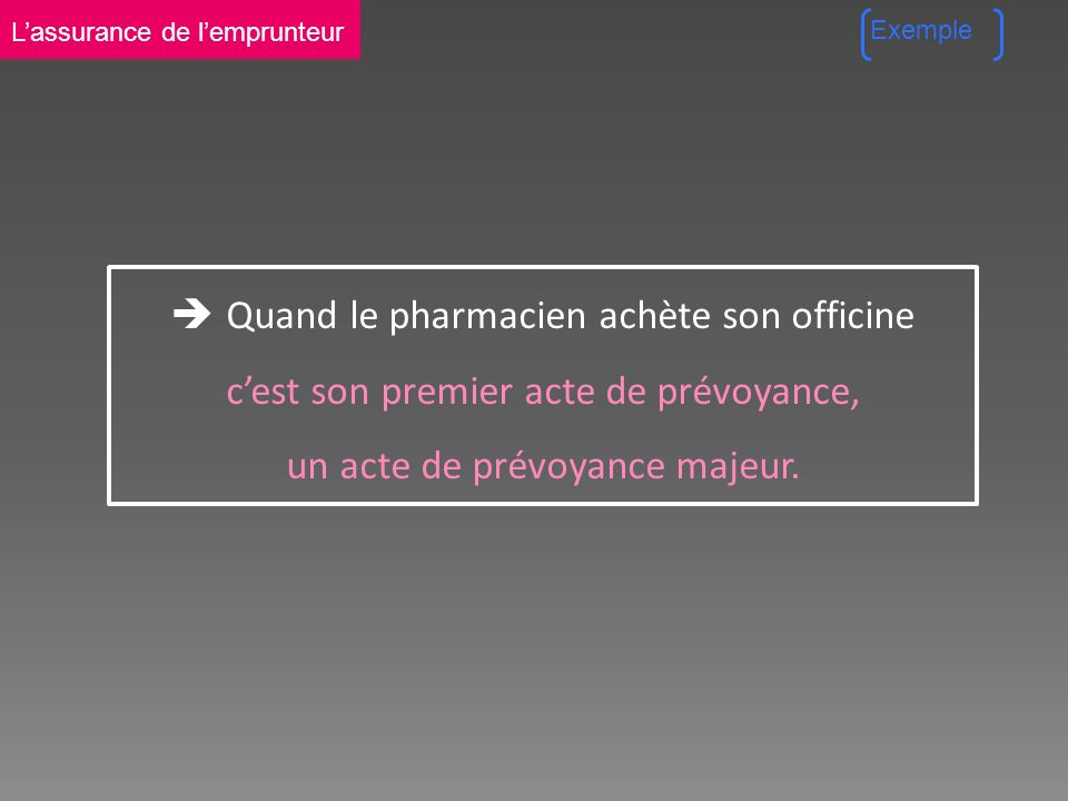 Quand le pharmacien achète son officine cest son premier acte de prévoyance, un acte de prévoyance majeur.