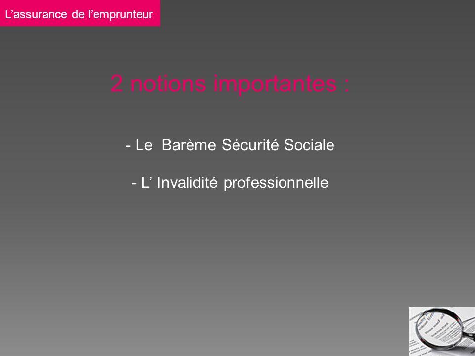 2 notions importantes : - Le Barème Sécurité Sociale - L Invalidité professionnelle