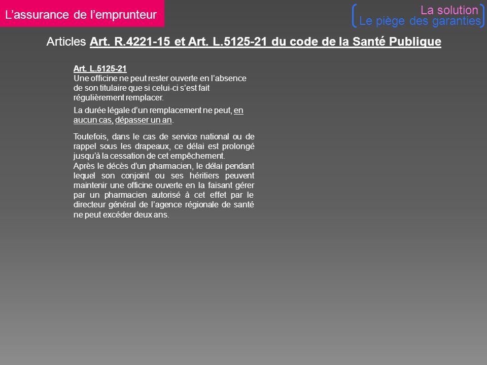 Articles Art. R.4221-15 et Art. L.5125-21 du code de la Santé Publique Art.