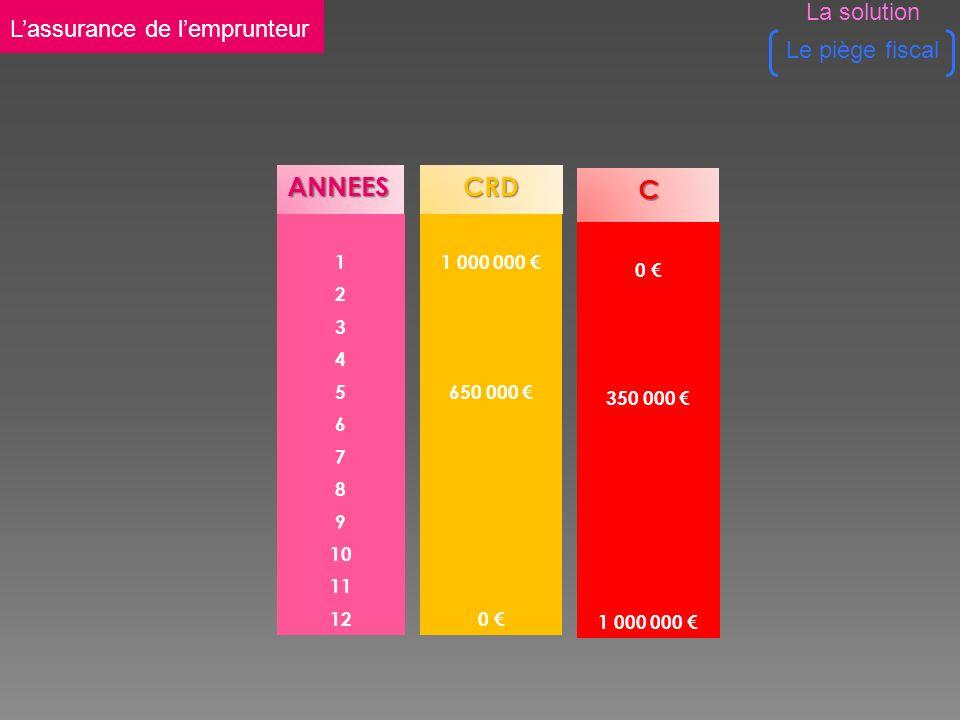 ANNEES 1 2 3 4 5 6 7 8 9 10 11 12CRD 1 000 000 650 000 0 C 0 350 000 1 000 000 Lassurance de lemprunteur Le piège fiscal La solution