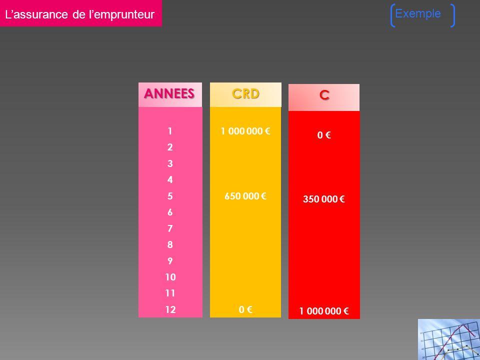 ANNEES 1 2 3 4 5 6 7 8 9 10 11 12CRD 1 000 000 650 000 0 C 0 350 000 1 000 000 Exemple Lassurance de lemprunteur