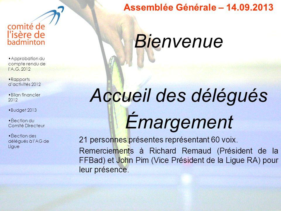 Bienvenue Accueil des délégués Émargement 21 personnes présentes représentant 60 voix. Remerciements à Richard Remaud (Président de la FFBad) et John