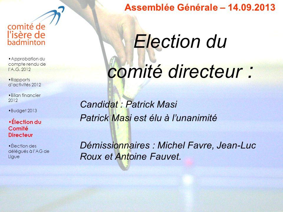 Election du comité directeur : Candidat : Patrick Masi Patrick Masi est élu à lunanimité Démissionnaires : Michel Favre, Jean-Luc Roux et Antoine Fauv