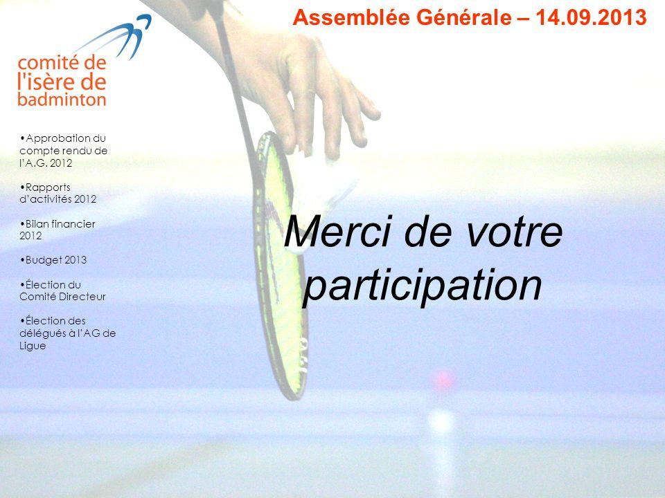 Merci de votre participation Assemblée Générale – 14.09.2013 Approbation du compte rendu de lA.G. 2012 Rapports dactivités 2012 Bilan financier 2012 B