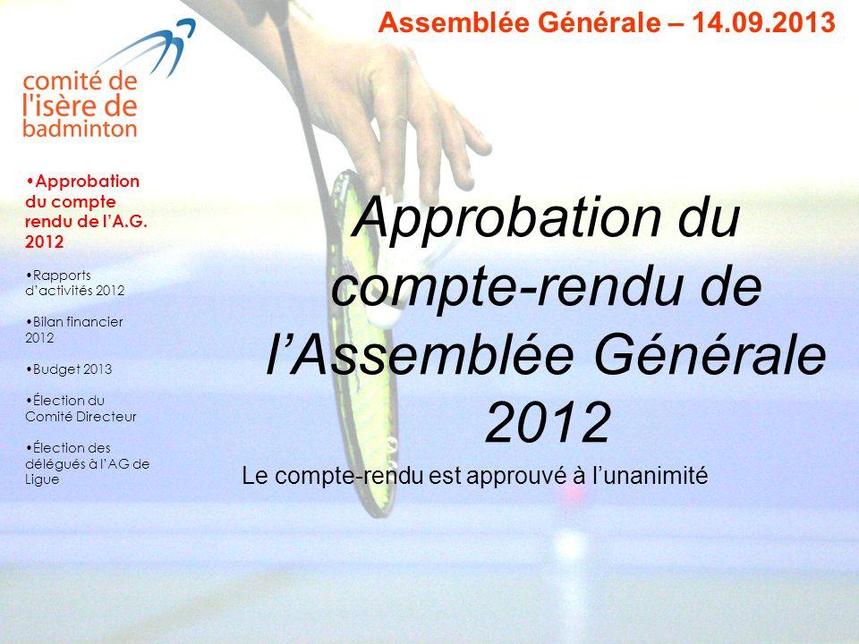 Approbation du compte-rendu de lAssemblée Générale 2012 Le compte-rendu est approuvé à lunanimité Assemblée Générale – 14.09.2013 Approbation du compt
