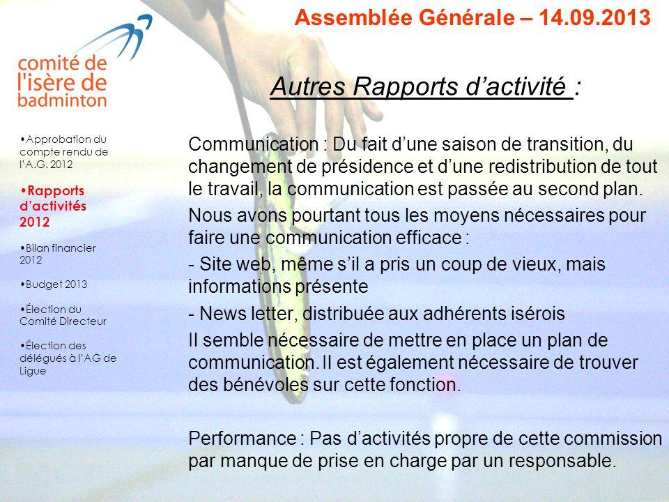 Vote des rapports d activités 2012 Les rapports dactivités sont adoptés à lunanimité Approbation du compte rendu de lA.G.