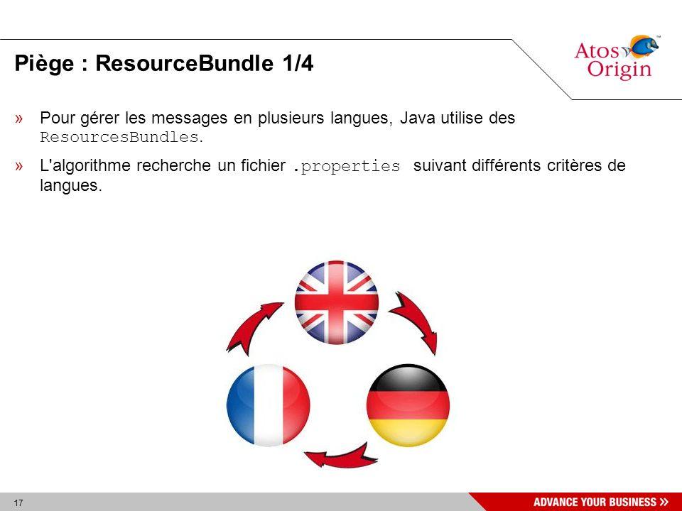 17 Piège : ResourceBundle 1/4 »Pour gérer les messages en plusieurs langues, Java utilise des ResourcesBundles. »L'algorithme recherche un fichier.pro