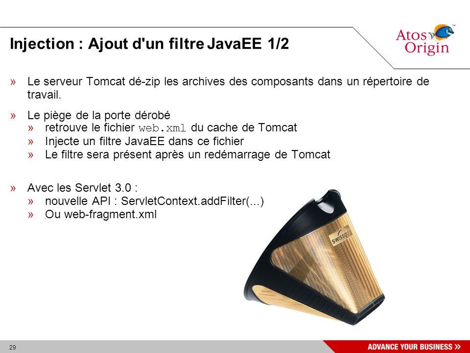 29 Injection : Ajout d'un filtre JavaEE 1/2 »Le serveur Tomcat dé-zip les archives des composants dans un répertoire de travail. »Le piège de la porte