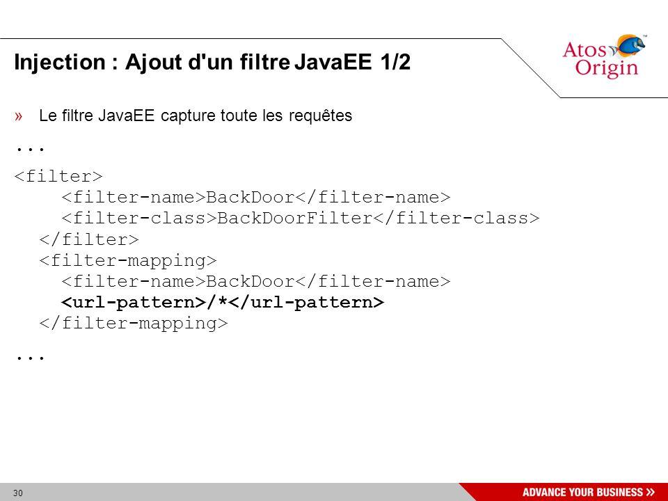30 Injection : Ajout d'un filtre JavaEE 1/2 »Le filtre JavaEE capture toute les requêtes... BackDoor BackDoorFilter BackDoor /*...