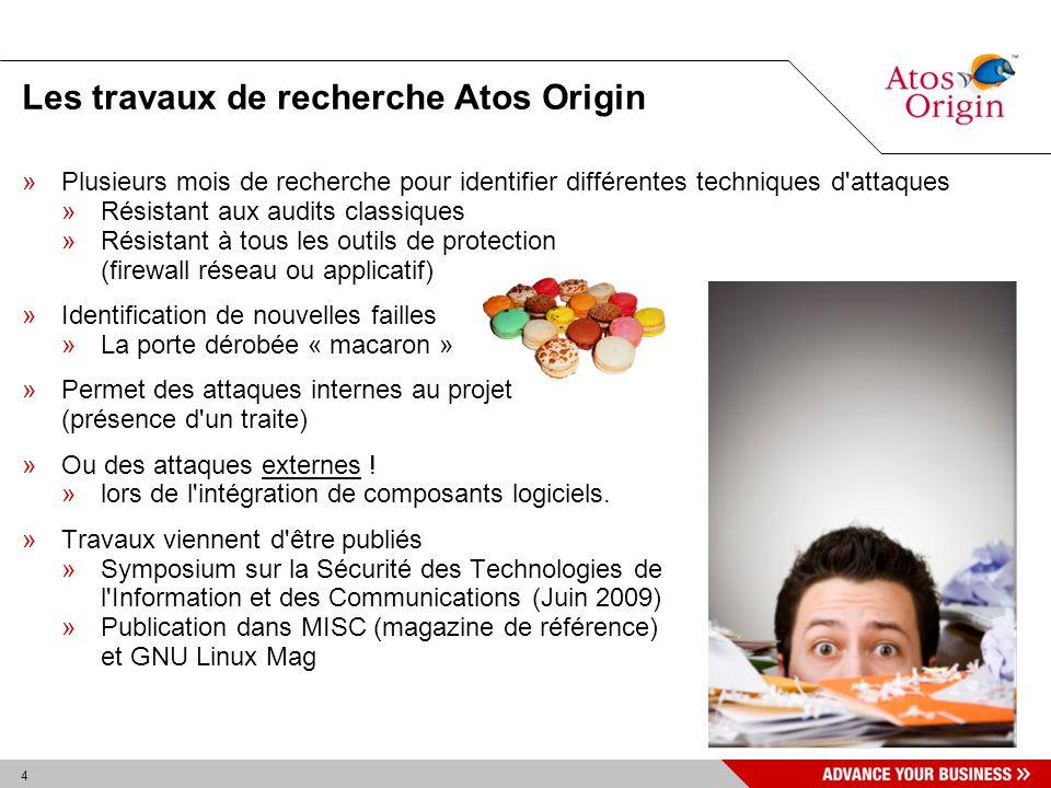 55 Solutions »Atos Origin propose avec « Macaron » trois outils d aide à l identification et au renforcement des développements »Expertise pratiquement unique d Atos Origin sur le sujet.