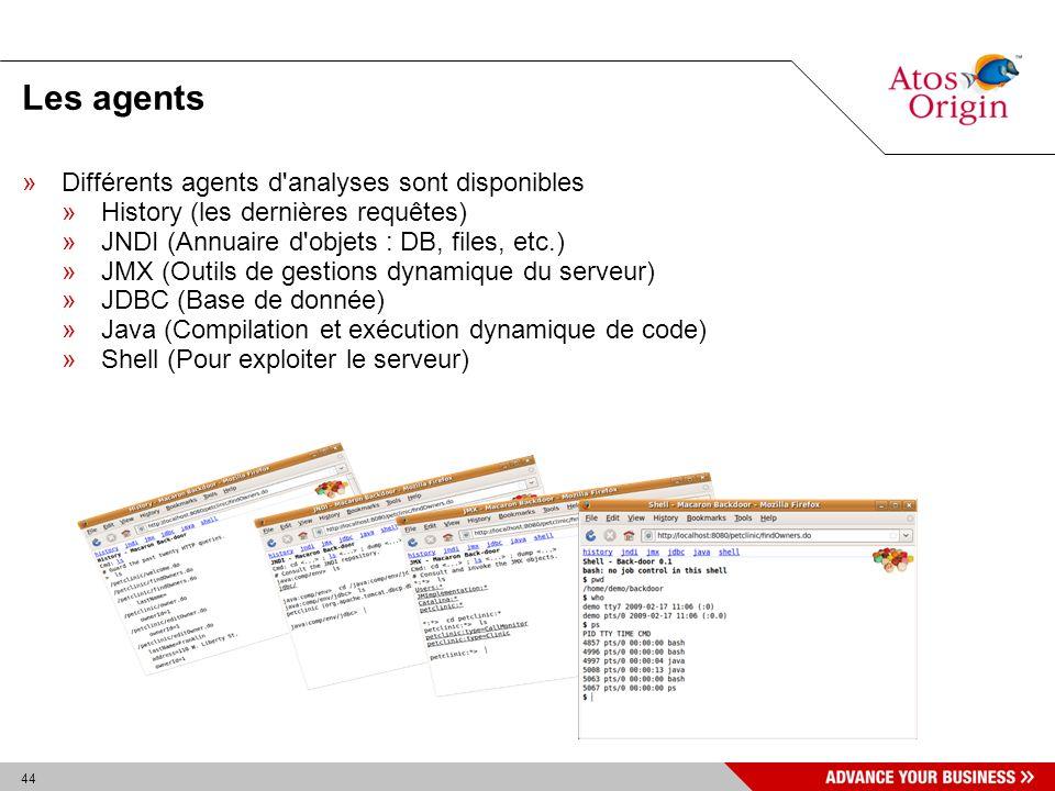 44 Les agents »Différents agents d'analyses sont disponibles »History (les dernières requêtes) »JNDI (Annuaire d'objets : DB, files, etc.) »JMX (Outil
