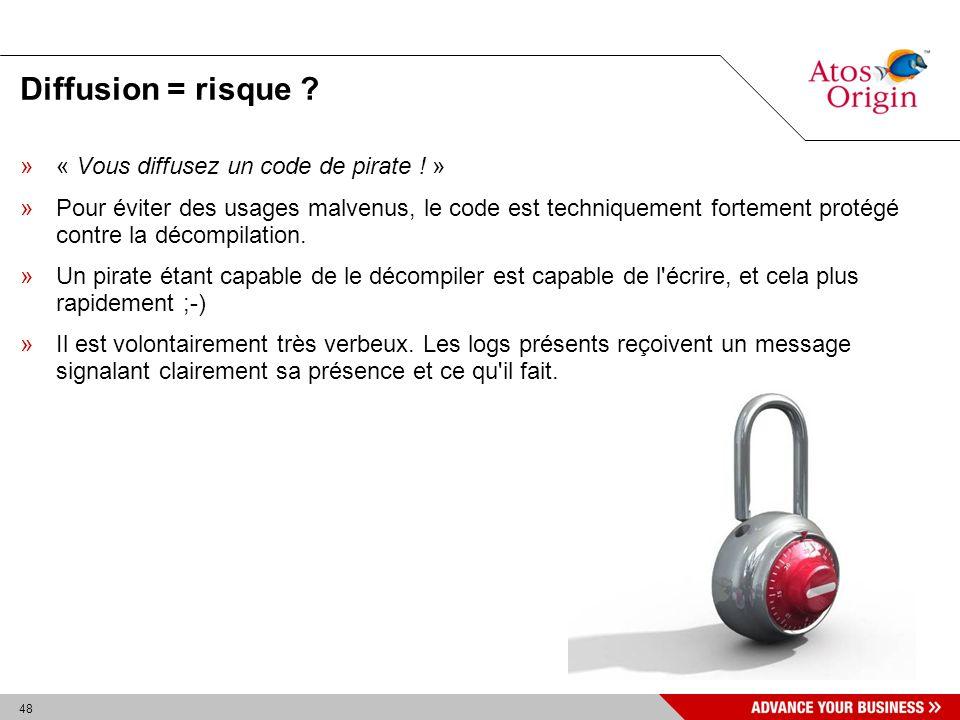 48 Diffusion = risque ? »« Vous diffusez un code de pirate ! » »Pour éviter des usages malvenus, le code est techniquement fortement protégé contre la