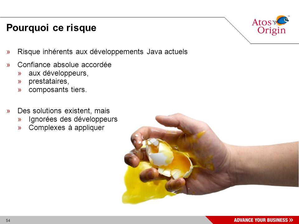 54 Pourquoi ce risque »Risque inhérents aux développements Java actuels »Confiance absolue accordée »aux développeurs, »prestataires, »composants tier