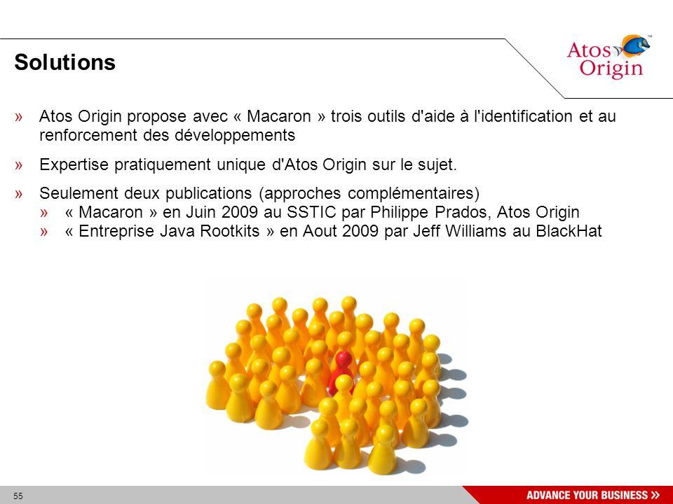 55 Solutions »Atos Origin propose avec « Macaron » trois outils d'aide à l'identification et au renforcement des développements »Expertise pratiquemen