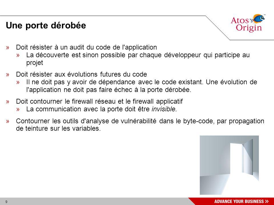 10 Objectifs »Résister aux audits applicatifs »Le code de la porte dérobée ne doit pas être présent dans les sources ; »L application ne doit pas l invoquer ; »Solution: -Présent dans une archive déclarée saine (JAR).