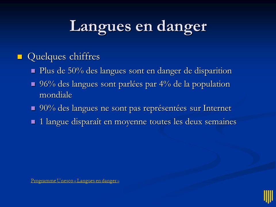 Langues en danger Quelques chiffres Quelques chiffres Plus de 50% des langues sont en danger de disparition Plus de 50% des langues sont en danger de
