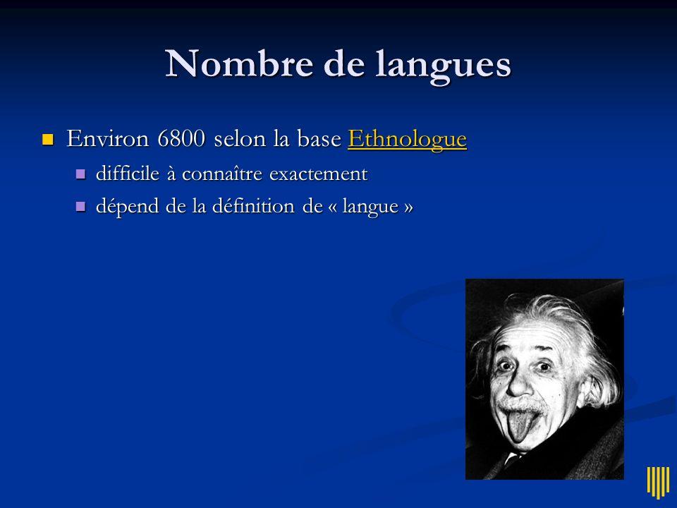 Nombre de langues Environ 6800 selon la base Ethnologue Environ 6800 selon la base EthnologueEthnologue difficile à connaître exactement difficile à c