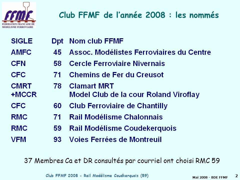 Mai 2008 - BDE FFMF Club FFMF 2008 - Rail Modélisme Coudkerquois (59)1 Club FFMF de lannée 2008 Rail Modélisme Coudekerquois Préparé par Bruno DELAHAYE, membre CA et DR FFMF Bourgogne RMC 59 http://rmc59.free.fr http://rmc59.free.fr