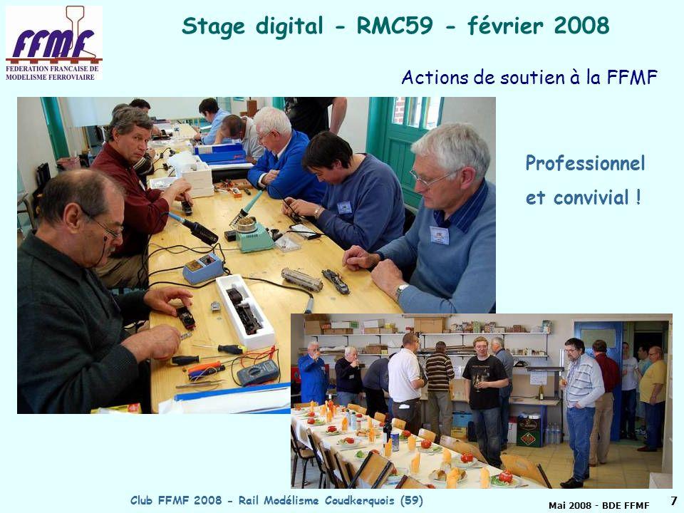 Mai 2008 - BDE FFMF Club FFMF 2008 - Rail Modélisme Coudkerquois (59)6 RMC 59 proposé club FFMF 2008 Actions de soutien à la FFMF - Organisation de l AG FFMF en 2006 - Après en avoir rodé le principe par des stages internes au club, puis pour le Cercle du Zéro, organisation de 5 stages FFMF, le 6° pour mai 2008 : stages peintures aérographe, soudure, initiation au digital, bases de l électricité ….