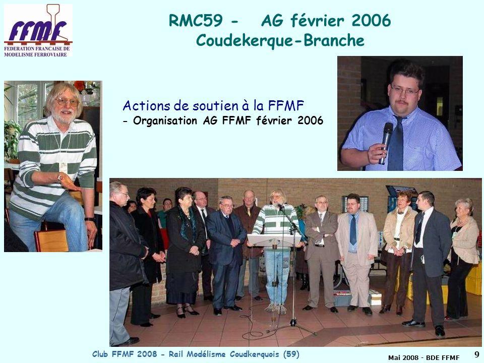 Mai 2008 - BDE FFMF Club FFMF 2008 - Rail Modélisme Coudkerquois (59)8 FTM décembre 2007 - Magasin PICWIC http://ffmfw.free.fr/FTM/FTM2007/Nord/ 4 actions Fête du train miniature 2007 avec articles dans la presse locale.