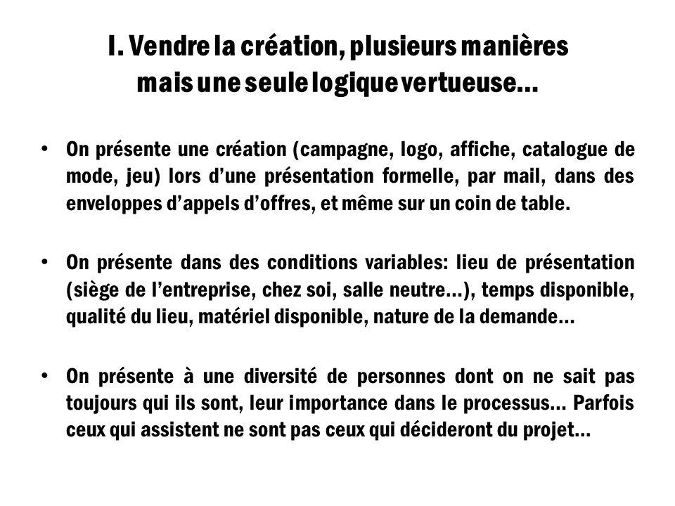 I. Vendre la création, plusieurs manières mais une seule logique vertueuse… On présente une création (campagne, logo, affiche, catalogue de mode, jeu)