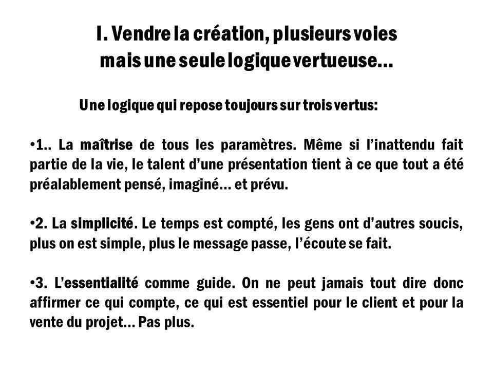 I. Vendre la création, plusieurs voies mais une seule logique vertueuse… Une logique qui repose toujours sur trois vertus: 1.. La maîtrise de tous les