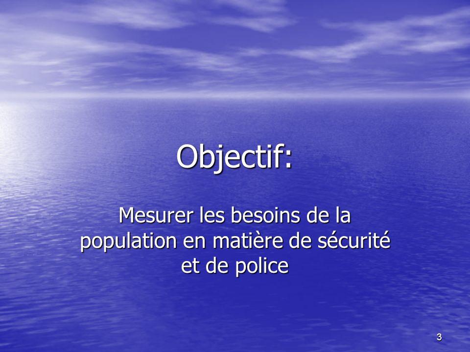 3 Objectif: Mesurer les besoins de la population en matière de sécurité et de police