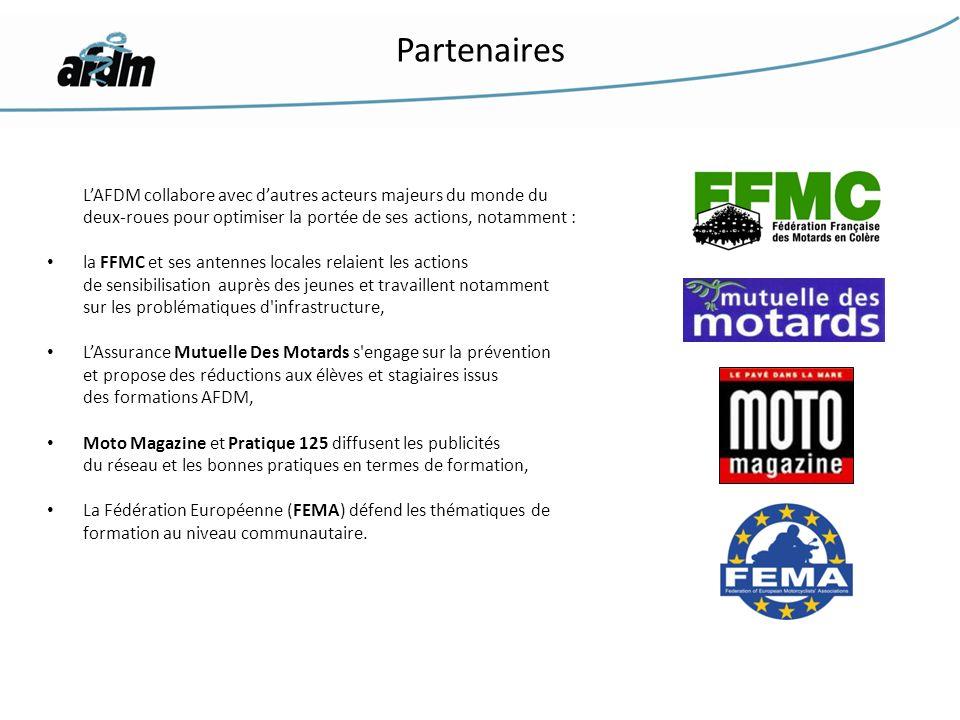 LAFDM collabore avec dautres acteurs majeurs du monde du deux-roues pour optimiser la portée de ses actions, notamment : la FFMC et ses antennes local