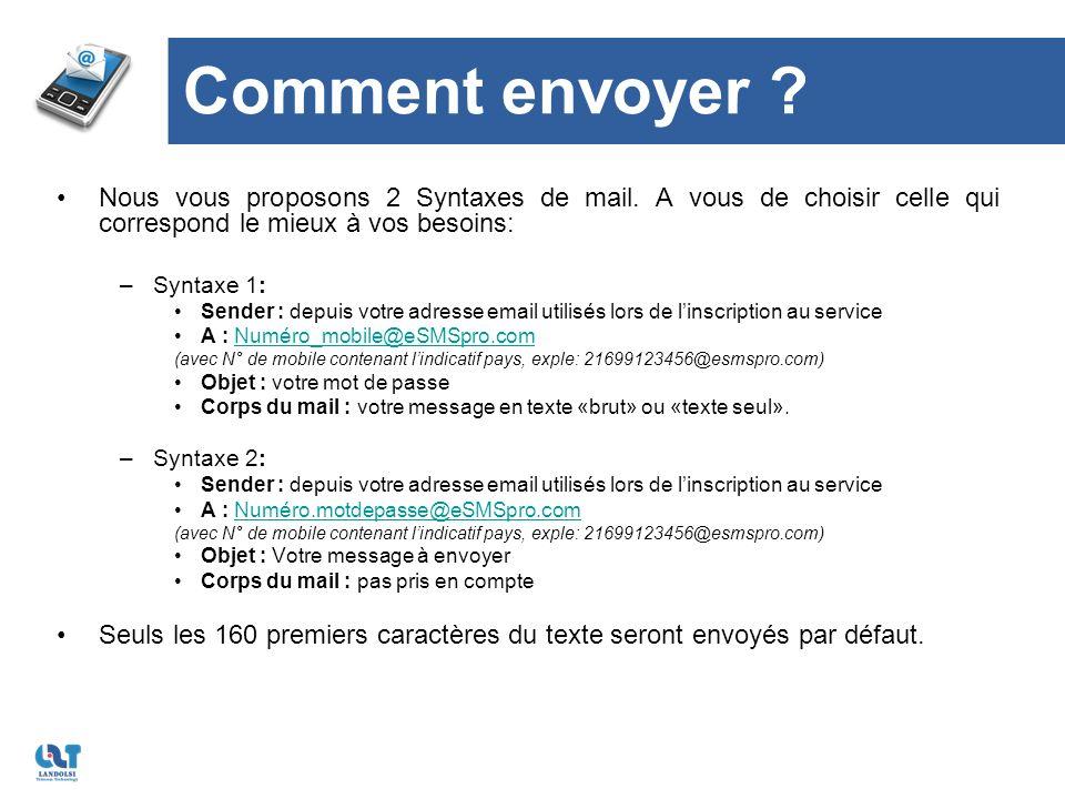 Comment envoyer . Nous vous proposons 2 Syntaxes de mail.