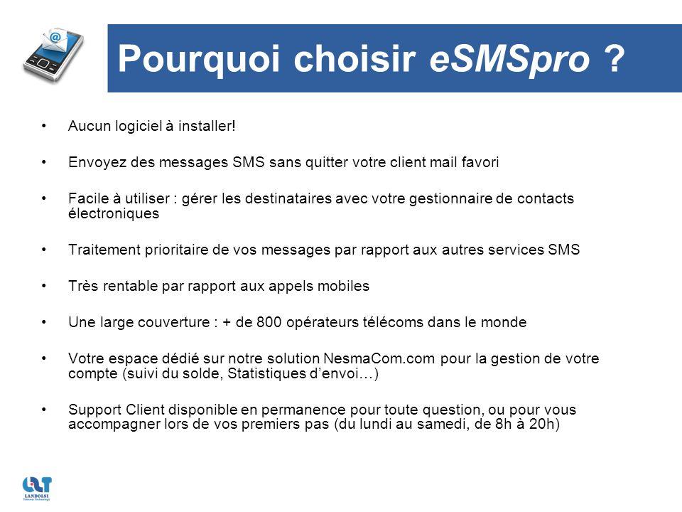 Pourquoi choisir eSMSpro . Aucun logiciel à installer.