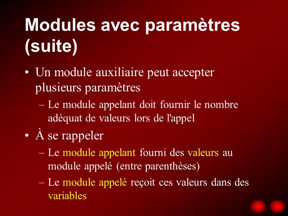 Modules avec paramètres (suite) Un module auxiliaire peut accepter plusieurs paramètres –Le module appelant doit fournir le nombre adéquat de valeurs