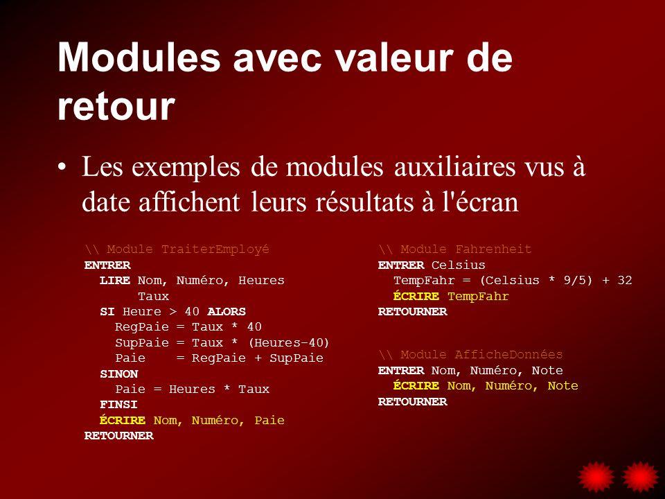 Modules avec valeur de retour Les exemples de modules auxiliaires vus à date affichent leurs résultats à l'écran \\ Module AfficheDonnées ENTRER Nom,