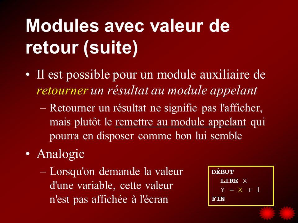 Modules avec valeur de retour (suite) Il est possible pour un module auxiliaire de retourner un résultat au module appelant –Retourner un résultat ne