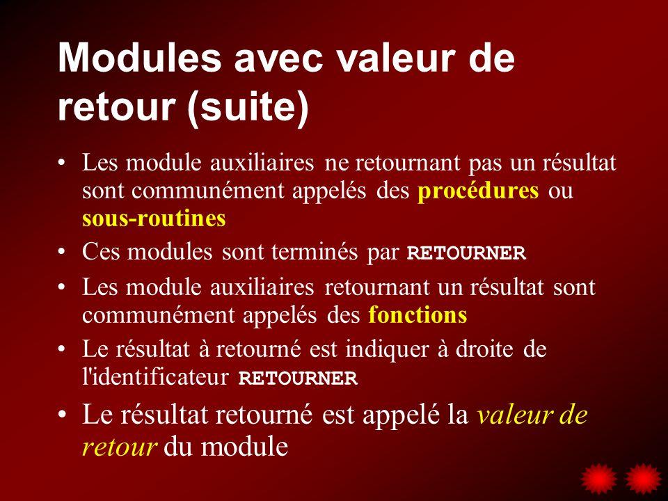 Modules avec valeur de retour (suite) Les module auxiliaires ne retournant pas un résultat sont communément appelés des procédures ou sous-routines Ce