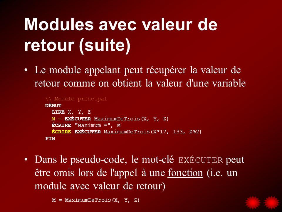 Modules avec valeur de retour (suite) Le module appelant peut récupérer la valeur de retour comme on obtient la valeur d'une variable Dans le pseudo-c