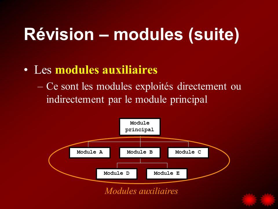 Exercice #1 (suite) Solution (suite) –Module Calculer Module principal \\ Module auxiliaire Calculer ENTRER Op, V1, V2 SI Op = + ALORS Res = V1 + V2 SINON SI Op = - ALORS Res = V1 - V2 SINON SI Op = x ALORS Res = V1 * V2 SINON SI Op = / ALORS Res = V1 / V2 FINSI RETOURNER Res \\ Module principal DÉBUT \\ Lire données ÉCRIRE Deux valeurs? LIRE N1, N2 Op = LireOpérateur \\ Afficher le résultat Res = Calculer(Op, N1, N2) ÉCRIRE = , Res FIN