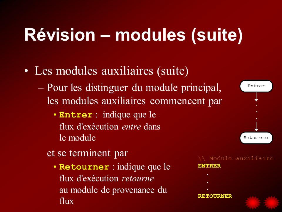 Révision – modules simples Module dans sa plus simple expression –Débute par DÉBUT (pour le module principal) ou ENTRER (pour les modules auxiliaires) –Terminé par FIN (pour le module principal) ou RETOURNER (pour les modules auxiliaires) Pour les modules auxiliaires –Appelés à l aide du symbole (pour l organigramme) ou de l opération EXÉCUTER (pour le pseudo-code) –Accompagnés d un commentaire pour identifier le nom du module auxiliaire