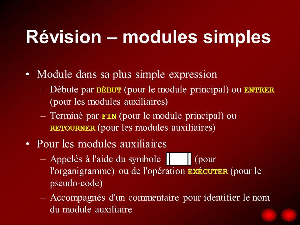 Modules avec valeur de retour Les exemples de modules auxiliaires vus à date affichent leurs résultats à l écran \\ Module AfficheDonnées ENTRER Nom, Numéro, Note ÉCRIRE Nom, Numéro, Note RETOURNER \\ Module Fahrenheit ENTRER Celsius TempFahr = (Celsius * 9/5) + 32 ÉCRIRE TempFahr RETOURNER \\ Module TraiterEmployé ENTRER LIRE Nom, Numéro, Heures Taux SI Heure > 40 ALORS RegPaie = Taux * 40 SupPaie = Taux * (Heures-40) Paie = RegPaie + SupPaie SINON Paie = Heures * Taux FINSI ÉCRIRE Nom, Numéro, Paie RETOURNER