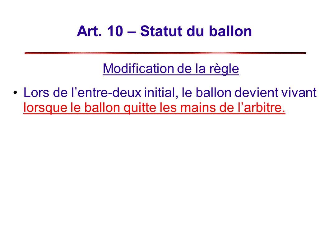 Art. 10 – Statut du ballon Modification de la règle Lors de lentre-deux initial, le ballon devient vivant lorsque le ballon quitte les mains de larbit