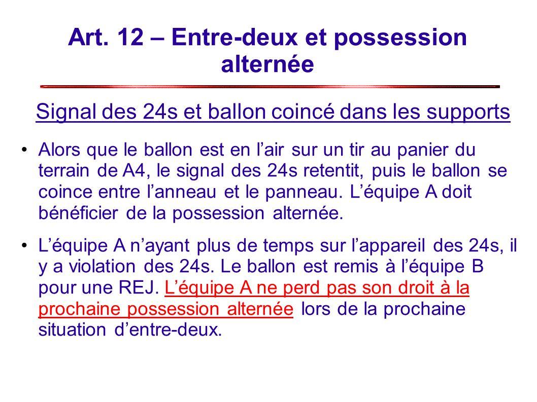 Art. 12 – Entre-deux et possession alternée Signal des 24s et ballon coincé dans les supports Alors que le ballon est en lair sur un tir au panier du